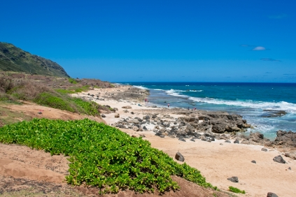 Not all beaches are majestic white sand wonders, but all of them have those blue water and surf views